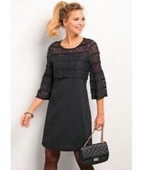 f7ad3439d1ef VENCA Krátke šaty so 3 4 rukávmi a čipkou čierna S