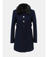 Tmavomodrý kabát s odnímateľným golierom z umelej kožušinky Dorothy Perkins 0a0ebf26422