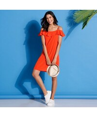 1f48bd6bb3e Výprodej-Slevy.cz Jednobarevné šaty s volánem oranžová