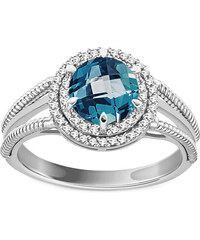 iZlato Design Prsteň s London Blue topásom a diamantmi 0.150 ct Cammy white  1 KU686AT 090679ab7d4