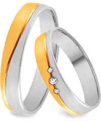 95d3141ab iZlato Forever Zlaté kombinované snubní prsteny se zirkony, šířka 3,5 - 8 mm