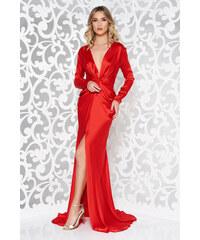 31ccce922a Piros StarShinerS alkalmi ruha hosszú ujjak övvel ellátva