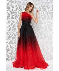Piros StarShinerS hosszú egy vállas harang ruha belső béléssel övvel ellátva 11e5e9fcc5
