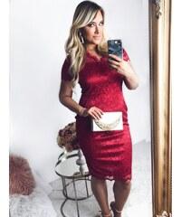 ZAZZA Červené čipkované šaty pod kolená 044f383a6c7