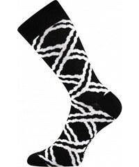 515b9d00432 Lonka Černé pánské ponožky s bílými čárami
