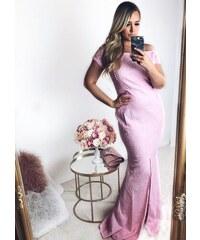 fe670be15115 ZAZZA Dlhé ružové čipkované šaty