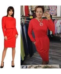 4752bd99d76c BE WEAR Červené úpletové šaty s dlhým rukávom a elastickým pásom B060