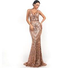 38a89614d7d2 Perfect Zářivé dlouhé růžovozlaté šaty bez rukávů na ples