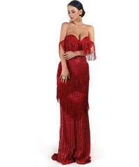 Perfect Společenské a Večerní Strapcové Třpytivé Dlouhé šaty s flitry c43cc1a1940