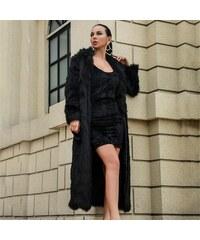 Perfect Stylový a Módní černý dlouhý kožich kabát s dlouhým rukávem 05450e2fef
