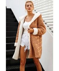 8348562a133 Perfect Oboustranný Dlouhý kožich kabát s kapucí 2 barvy v jednom