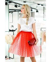 6415a02713c Fanfaronada tylová sukně bílá s červenými srdíčky