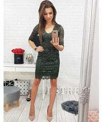 BASIC Zelené čipkované šaty (ey0586) 7d7d6b18022