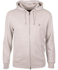Pánská světle šedá mikina na zip s kapucí Gant 06ef2c7781