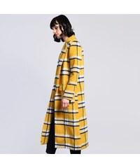GLAMOROUS Žltý kockovaný kabát XS 28d10edb7e9