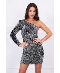 MladaModa Asymetrické šaty na jedno rameno s flitrami strieborné c004b0dbc2e