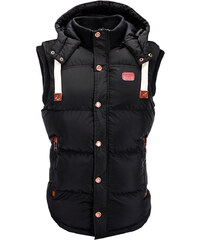 437b14ff5424 Ombre Clothing Pánská zimní vesta s kapucí Bishop černá
