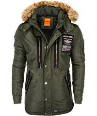 Ombre Clothing Pánska parka s kapucňou Collector khaki 778ab2bf691