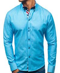 732e6aaeae72 Tyrkysová pánska elegantá košeľa s dlhými rukávmi BOLF 2759