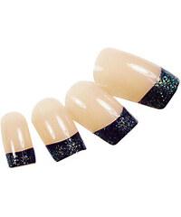 LightInTheBox 24PCS Glitter Black Fingertip Design Natural Nail Art French Tips With Glue