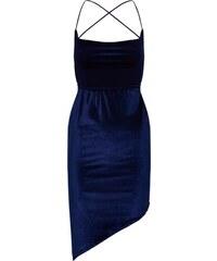 cee8183403 Missguided Nyári ruhák 'Velvet Asymetric Strappy Back Mini' Kék