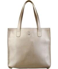 c9a3eb86c3 Veľká kožená kabelka nákupná taška Wojewodzic svetlá metalická zlatá 31731 D