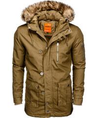 Ombre Clothing Pánska parka s kapucňou Frost olivová c206acd8775