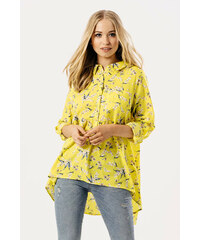 6844f0825759 Rouzit Žltá kvetinová tunika s golierom