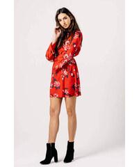 fb35f1770fe Rouzit Krátke červené šaty s kvetinovým vzorom
