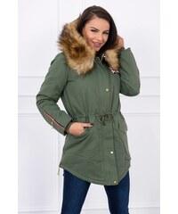 MladaModa Dámska bunda parka bavlnená s kožušinkou okolo kapucne model 822  khaki a0acd80ca1