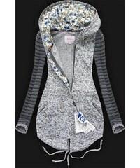 HAILYS Hailys dámská mikina na zip s kapucí Lisa květinový vzor šedá ... d9420bf8ae