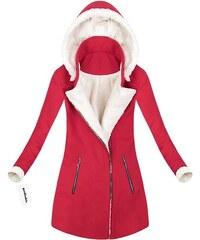 MADE IN ITALY Červený zimní kabát s kapucí (65ART) db5a5b3e441