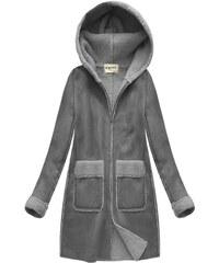 f76389b8a88 S WEST Šedý dámský semišový kabát (1805)
