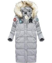 LJR Šedý dámský kabát s přírodní vycpávkou (8067) 97ae2767f29
