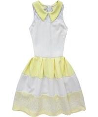 37d595e00dc MADE IN ITALY Bílo-žluté proužkované šaty s krajkou (GOOD44)