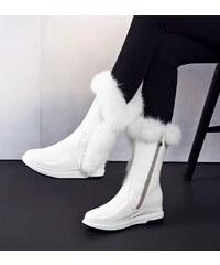 Perfect Černá a Bílá kožená obuv sněhule s kožíškem plyš na zip a464f0421a