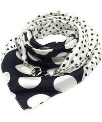 Modní černobílý saténový čtvercový šátek s puntíky e87ac4004a