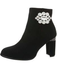 FashionFrey Dámské boty s vysokým podpatem kotníku - Černá ed14fbfea6