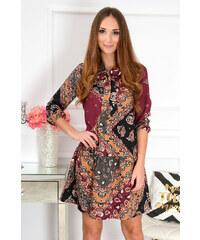 7e2c56221319 La blanche Vzorované bordó šaty Mira CO-41143