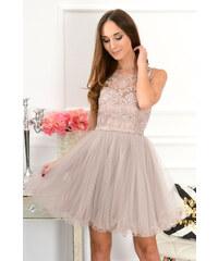 PLANETA-MODY Spoločenské šaty s krajkou a tylom Violetta CO-41265 púdrové 39c32c637f6