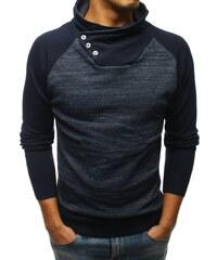 0d6c279857f Dstreet Senzační tmavě modrý svetr s vysokým límcem