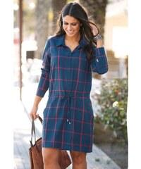 VENCA Košeľové šaty s dlhými rukávmi kockovaná L 7de77d61875