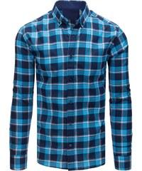 5063dd625c07 Brand Pánska károvana košeľa (dx1584) - modrá dx1584