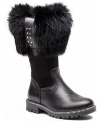 673f2d2186 Dievčenské zimné čižmy s pravou zajačou kožušinkou RENBUT 22-3317 čierne
