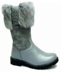 86e5afb3b8 Dievčenské zimné čižmy s pravou zajačou kožušinkou RENBUT 23-4382 sivé