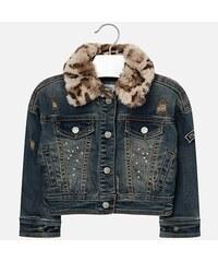 ce4642fc5288 Mayoral Dievčenský rifľový kabát s kožušinovým golierom 4488-084 overdyed
