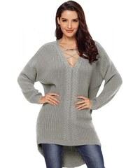 d93ba4a78e2 NoName - Dámský pletený svetr maxi šedý