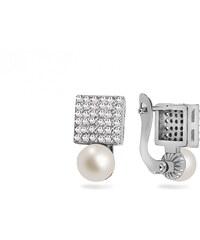 iZlato Design Strieborné napichovacie náušnice s perlami Štvorčeky IS3332 2df1a269592