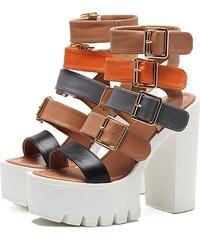 5aa6a3e26be Perfect Gladiátorské sandály na vysokém podpatku s přezky