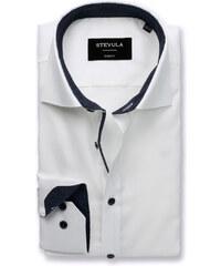 d501f696f451 STEVULA Biela pánska košeľa s tmavomodrými gombíkmi
